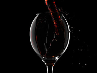 Isolated wine glasses with red wine