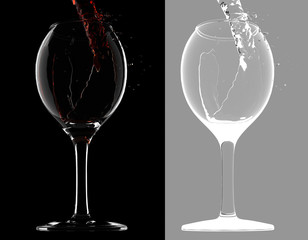 Isolated wine glasses with red wine. Alpha channel.