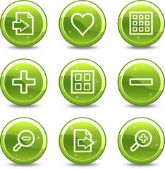 Image viewer web icons, green glossy circle buttons series