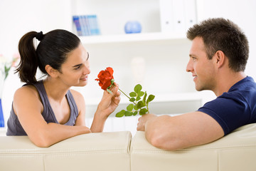 Love couple with rose