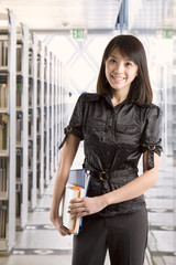 College student at library