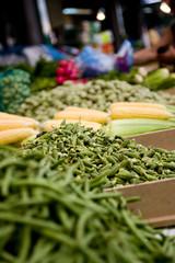Israel market. Corn and bamiya.
