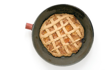 pie with lattice top on white background