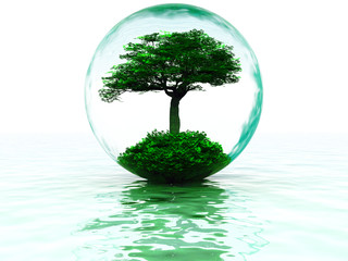abstract liquid bubble with tree inside