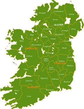Map of the whole Ireland isolated on white background.