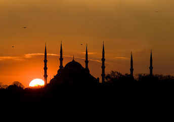 Istanbul Silhouette with Mosque and Sun