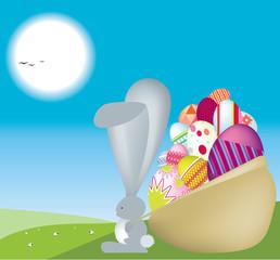 Easter bunny carrys sack full of eggs