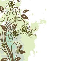 grunge floral végétal vert