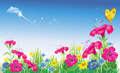 Meadow with flowers. Vector illustration