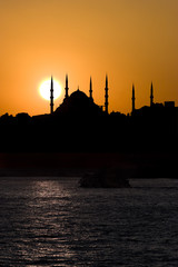 The Blue Mosque and sunset in Istanbul Turkey