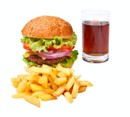 hamburger, fries and cola isolated on white background