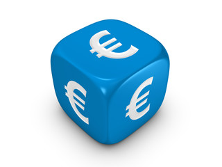 blue dice with euro sign