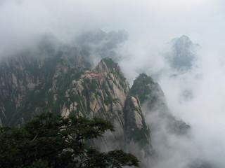 Les montagnes jaunes sous la brume
