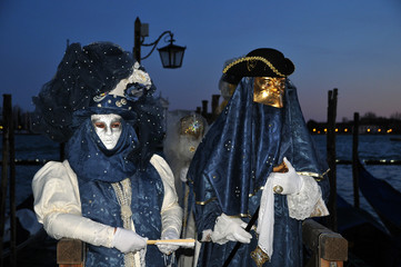 Traditional carnival Venice masks with colorful decoration..