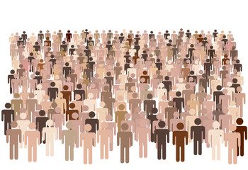 Diverse population of symbol people form large group