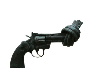 old revolver gun with tied up muzzle
