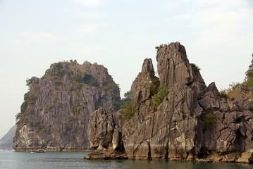 Limestone islands in Halong bay in Vietnam