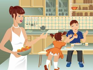 Family on kitchen