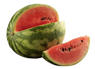 Watermelon with slice - clipping path