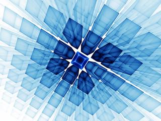 blue cubic horizon on white