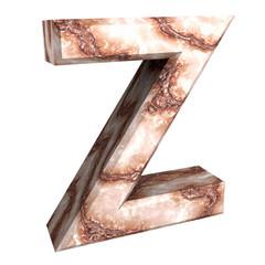 3d letter Z in marble