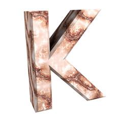 3d letter K in marble
