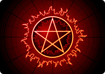 Fire Pentagram with grid on dark background