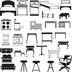 Collection of editable vector furniture