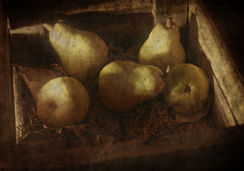 Pears in an old box