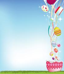 Easter egg and streamer background