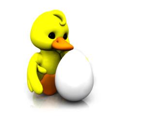Cartoon chicken with egg