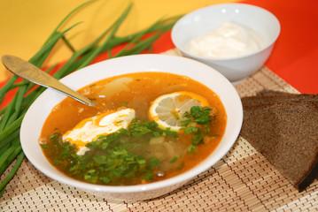 Russian traditional soup - solyanka