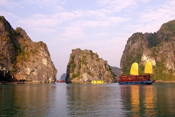 The limestone islands of Halong bay in Vietnam