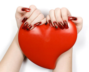 Women hands with heart