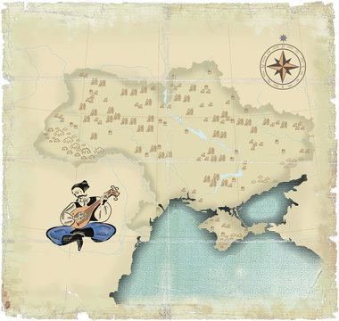 Style under old times of map of Ukraine