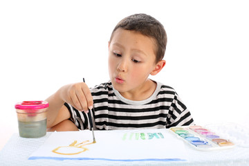 boy with paint isolated on white