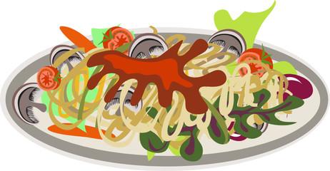Plato de espaguetti con champiñones vector
