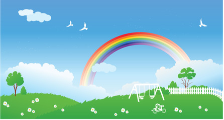 Poster Airplanes, balloon Spring scene with rainbow