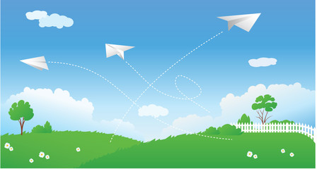 Poster Airplanes, balloon Spring scene with paper planes