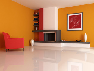 Modern fireplace ina orange living room with picture art