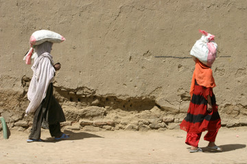 Afghan Children Walk in kabul
