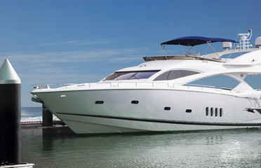 A Luxury Yatch parked in its berth in one of the