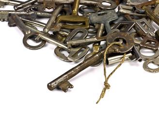 Antique skeleton keys on white background #1