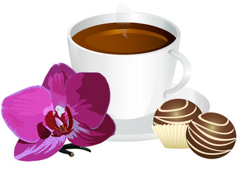 cup of coffee with sweets and orchid