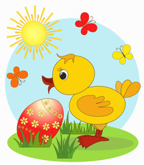 Duckling. Easter card