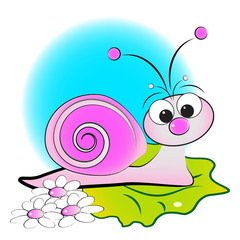 Snail, flowers and green leaf - Kid Illustration