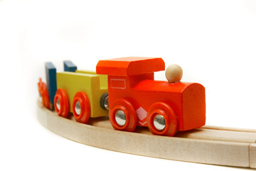 wooden train over white