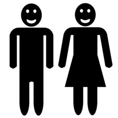 Man and woman silhouette - smiling faces
