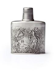 The aluminium flask on white background