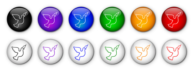 Freedom & Peace Buttons with Dove (rainbow colours)